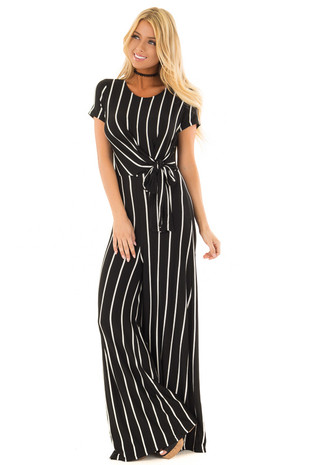 Black and Ivory Striped Jumpsuit with Front Tie front close up