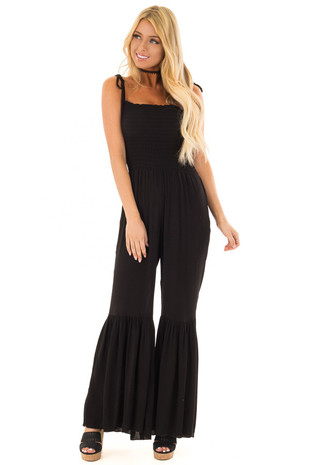 Black Spaghetti Strap Jumpsuit with Bell Bottoms front close up
