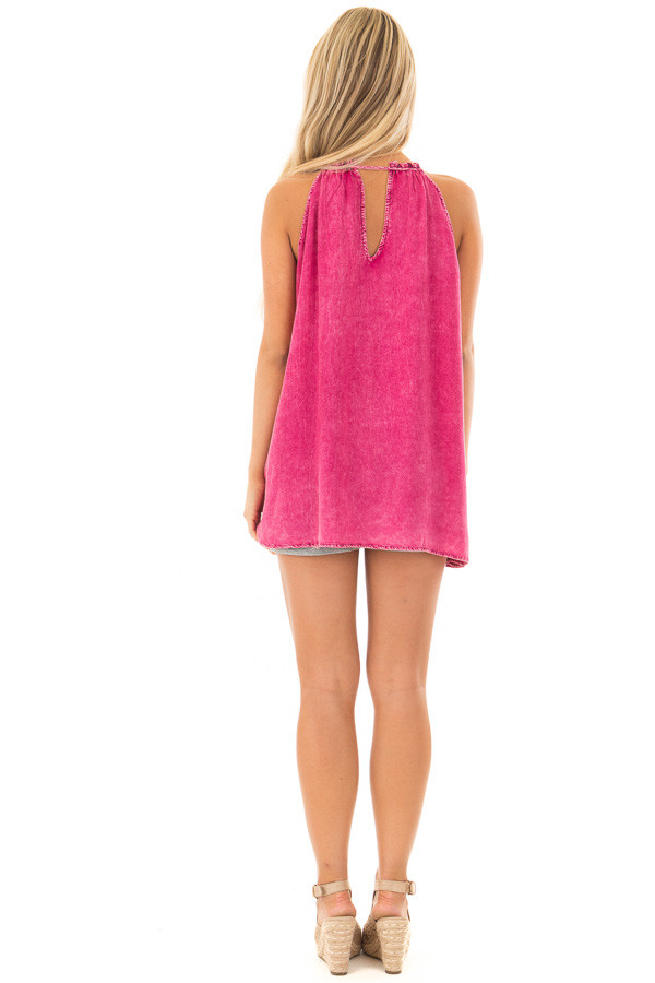 Pomegranate Mineral Wash Tank Top with Embroidery back full body