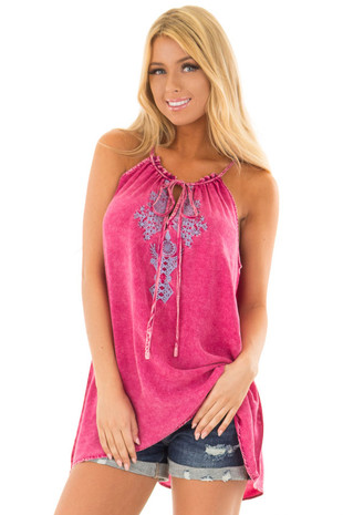 Pomegranate Mineral Wash Tank Top with Embroidery front close up