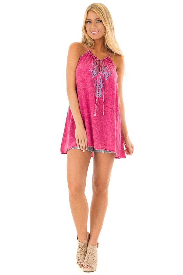 Pomegranate Mineral Wash Tank Top with Embroidery front full body