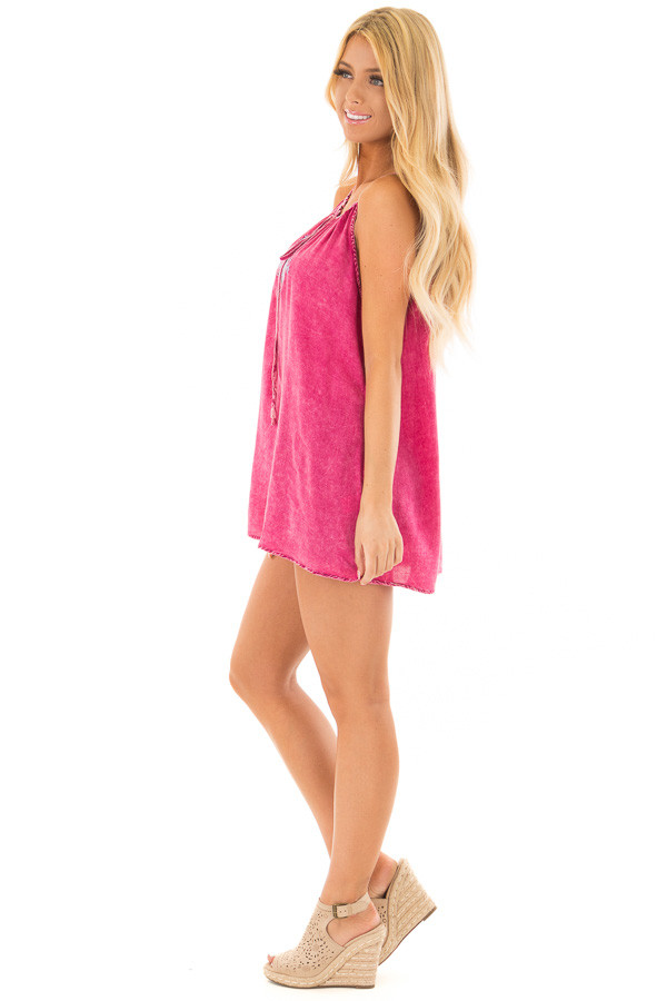 Pomegranate Mineral Wash Tank Top with Embroidery side full body