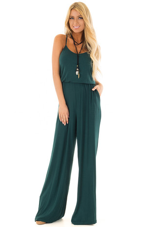 Hunter Green Sleeveless Wide Leg Jumpsuit front full body
