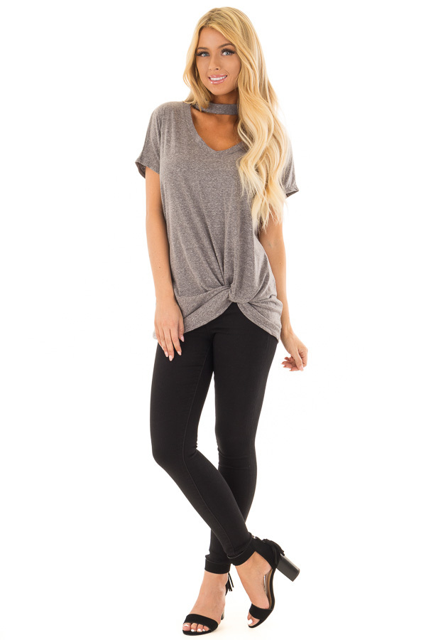 Ash Grey Two Tone Twisted Front Top with Chocker Cut V Neckline front full body