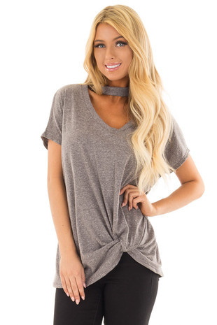 Ash Grey Two Tone Twisted Front Top with Choker V Neckline front close up