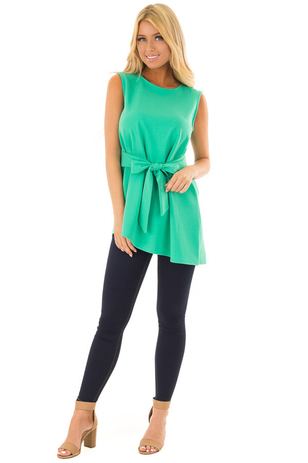 Jade Tank Top with Waist Tie Detail front full body