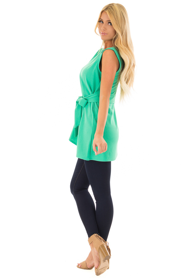 Jade Tank Top with Waist Tie Detail side full body