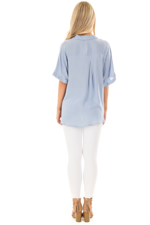 Denim Blue Button Up Surplice Blouse with Lace Detail back full body
