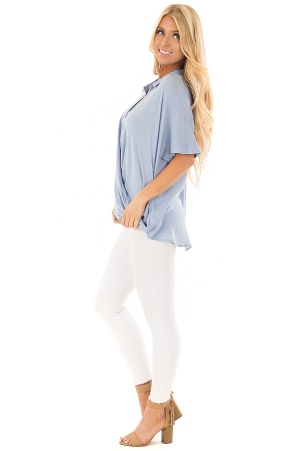 Denim Blue Button Up Surplice Blouse with Lace Detail side full body