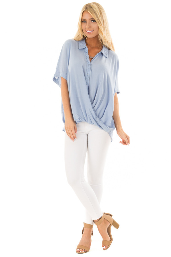Denim Blue Button Up Surplice Blouse with Lace Detail front full body