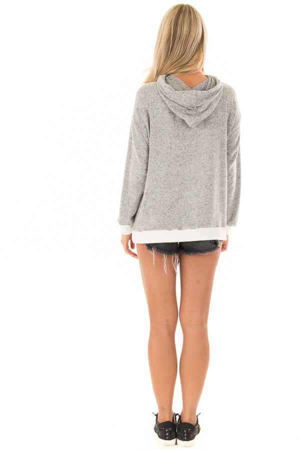 Heather Grey Hoodie with White Contrast and Cut Out Neckline back full body