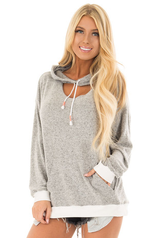 Heather Grey Hoodie with White Contrast and Cut Out Neckline front close up