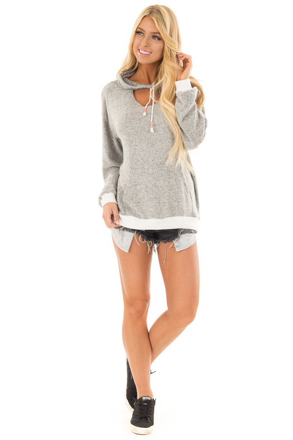 Heather Grey Hoodie with White Contrast and Cut Out Neckline front full body