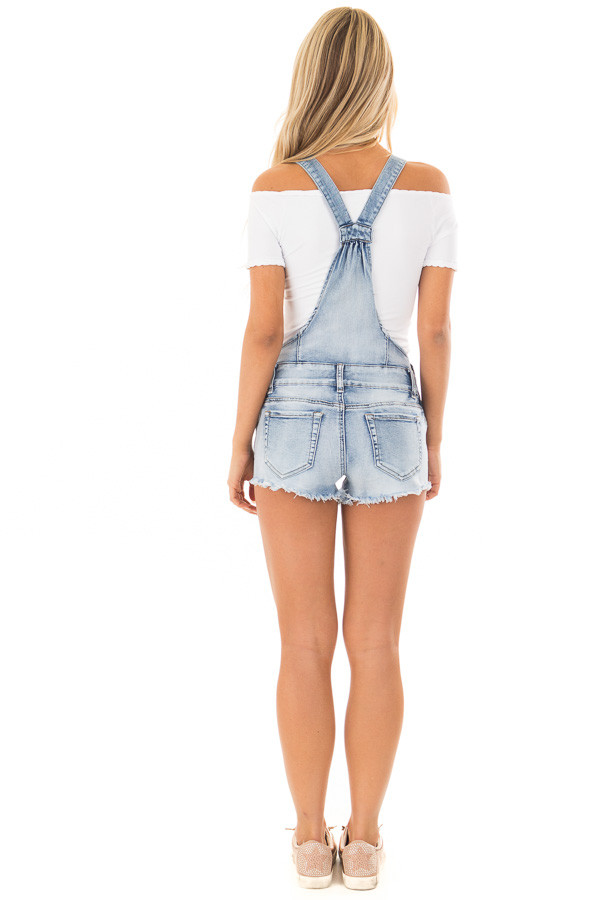 Light Denim Overall Shorts with Distressed Detail back full body