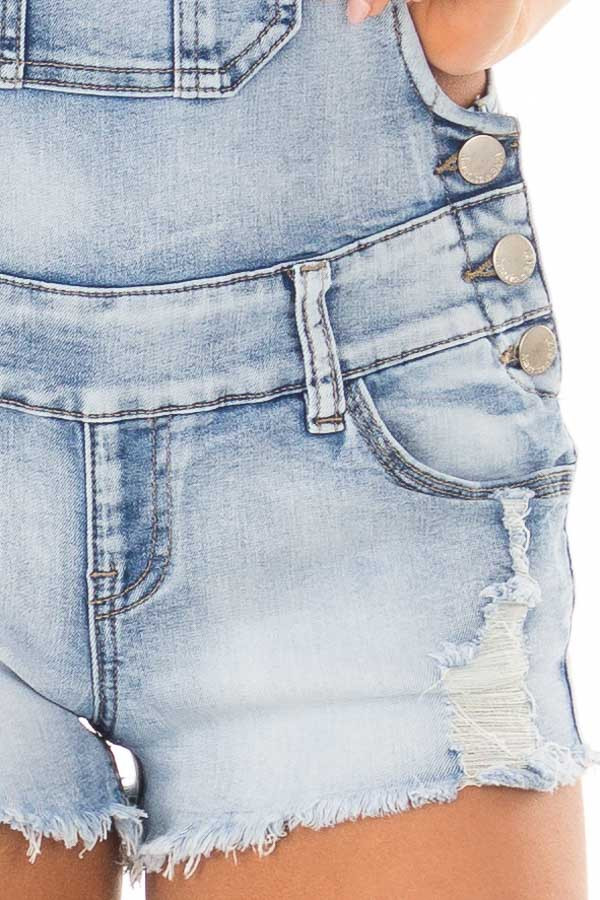 Light Denim Overall Shorts with Distressed Detail detail