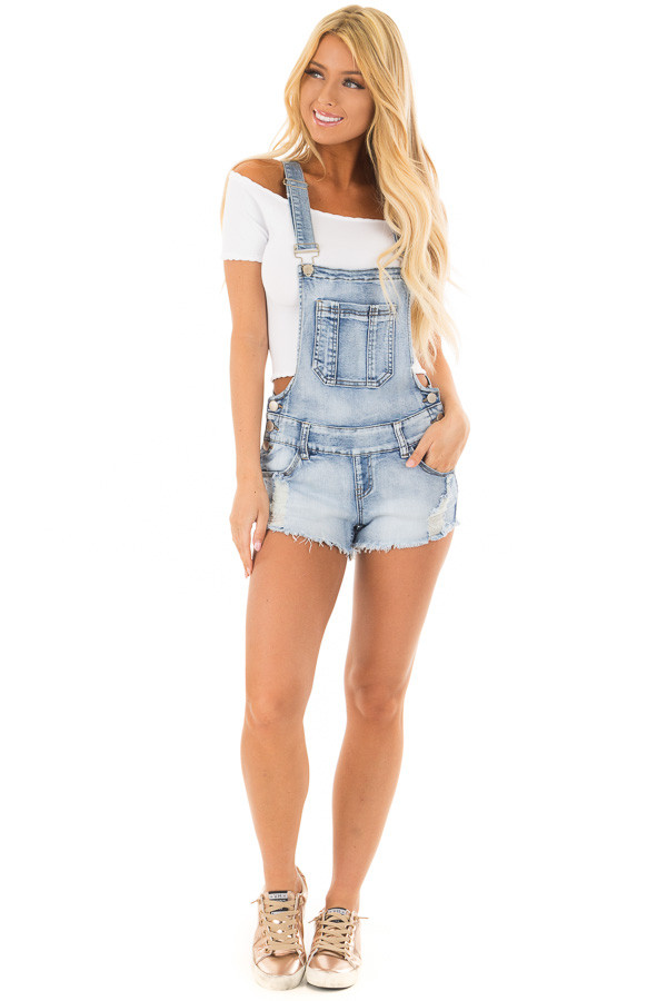 Light Denim Overall Shorts with Distressed Detail front full body