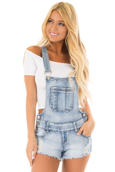 Light Denim Overall Shorts with Distressed Detail front close up