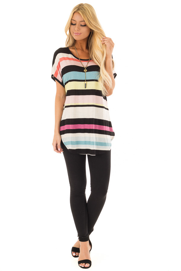 Multi Stripe Short Sleeve Top with Round Hemline front full body