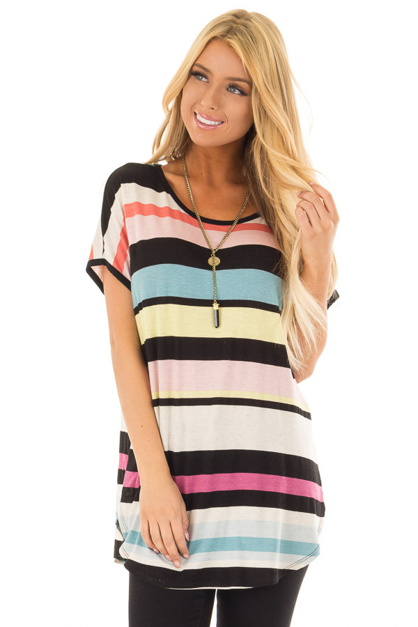Multi Stripe Short Sleeve Top with Round Hemline front close up