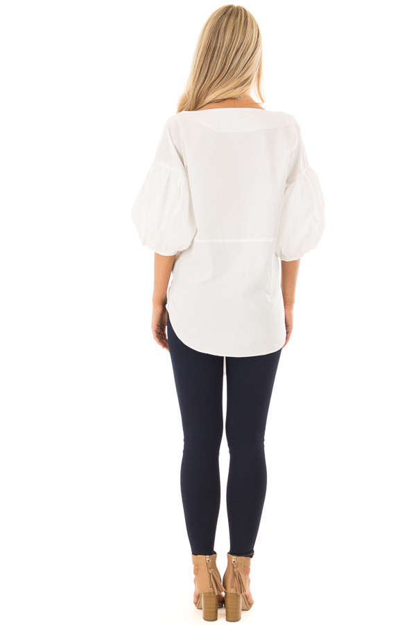 Off White Puff Sleeved Blouse with Front Tie Detail back full body