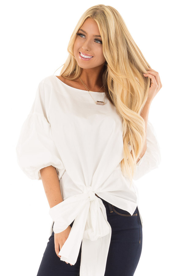 Off White Puff Sleeved Blouse with Front Tie Detail front close up
