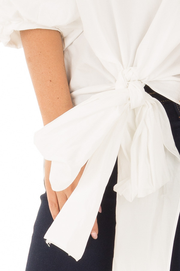 Off White Puff Sleeved Blouse with Front Tie Detail detail