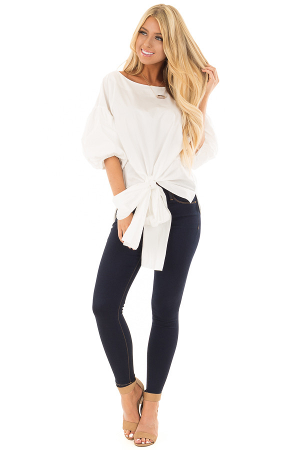 Off White Puff Sleeved Blouse with Front Tie Detail front full body