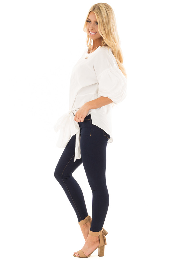 Off White Puff Sleeved Blouse with Front Tie Detail side full body