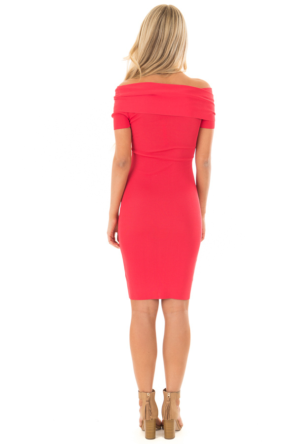 Candy Red Off the Shoulder Wrap Dress back full body