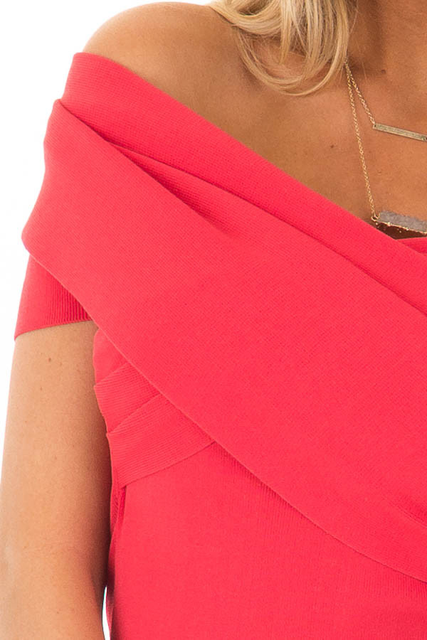 Candy Red Off the Shoulder Wrap Dress detail