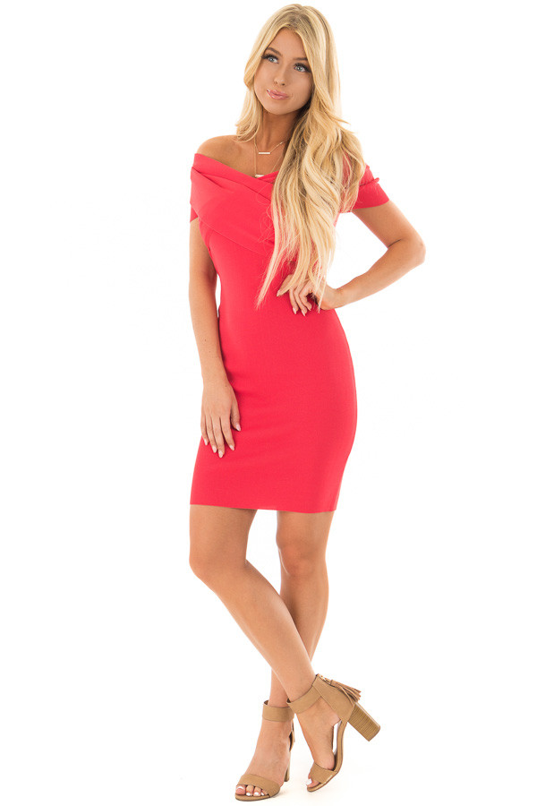 Candy Red Off the Shoulder Wrap Dress front full body