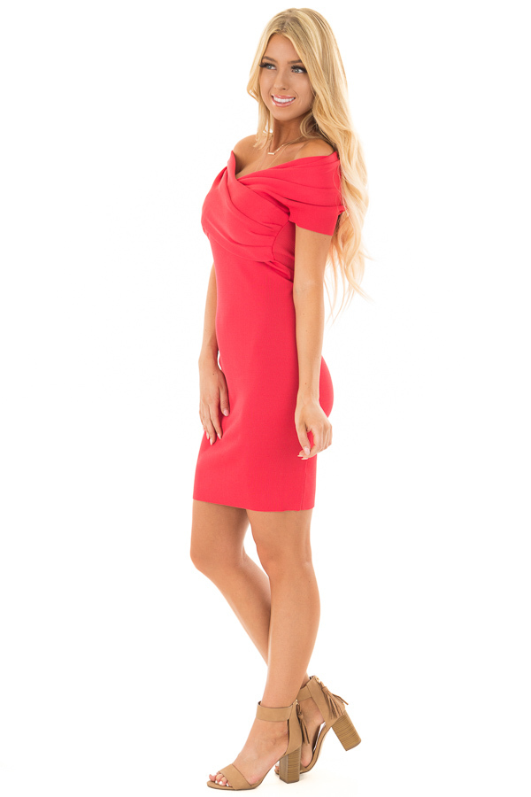 Candy Red Off the Shoulder Wrap Dress side full body