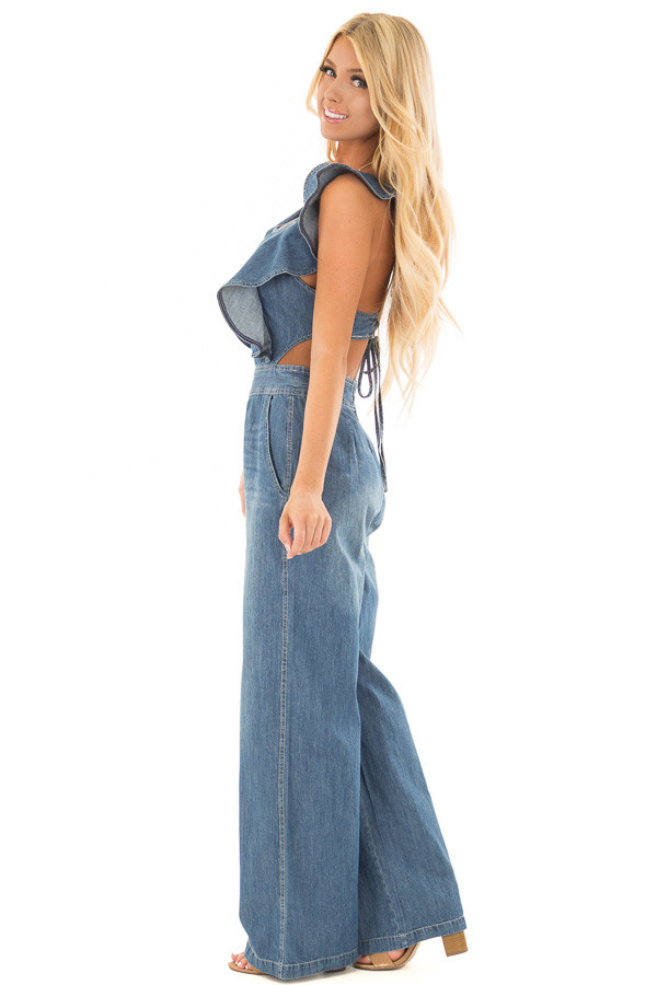 Denim Sleeveless Jumpsuit with Open Back and Ruffle Detail side full body