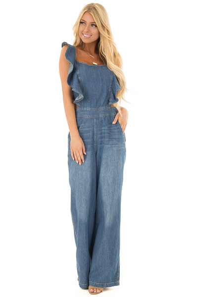 Denim Sleeveless Jumpsuit with Open Back and Ruffle Detail front full body