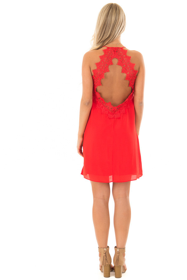 Lipstick Red Sleeveless Open Back Dress with Lace Detail back full body