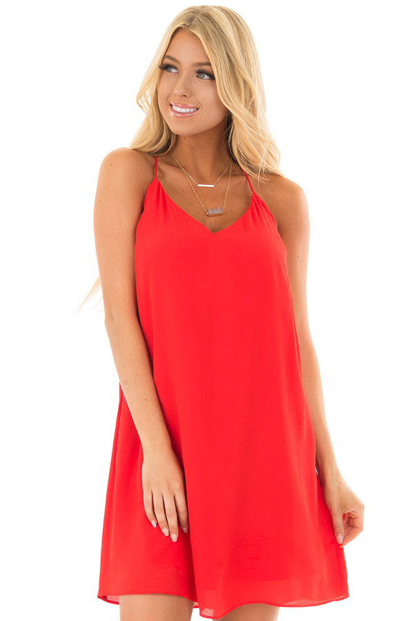 Lipstick Red Sleeveless Open Back Dress with Lace Detail front close up
