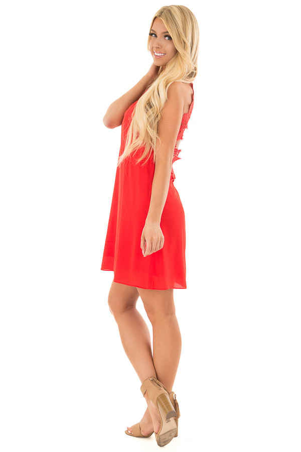 Lipstick Red Sleeveless Open Back Dress with Lace Detail side full body