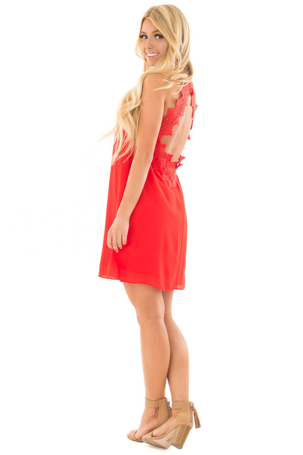 Lipstick Red Sleeveless Open Back Dress with Lace Detail back side full body