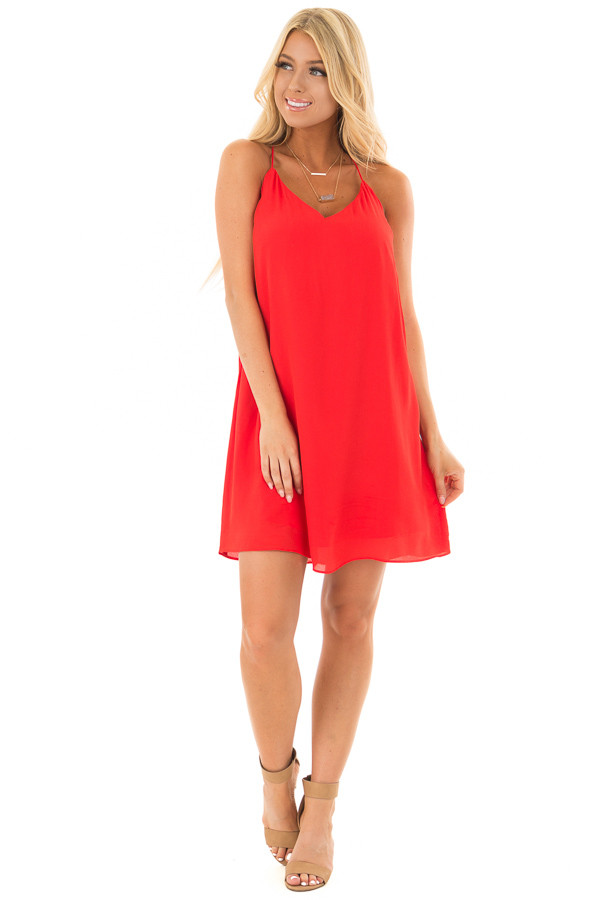Lipstick Red Sleeveless Open Back Dress with Lace Detail front full body
