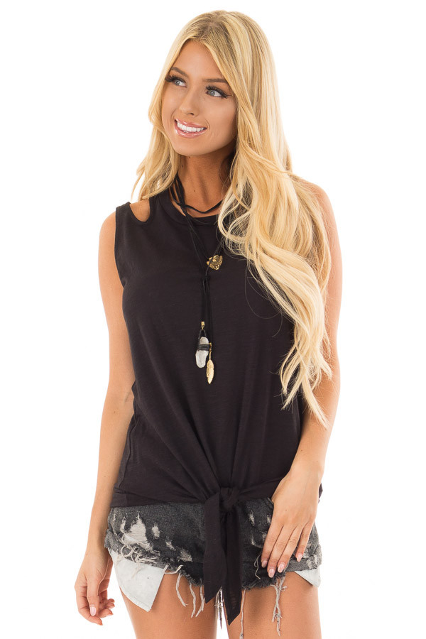 Black Tank Top With Double Straps and Tie Front front close up
