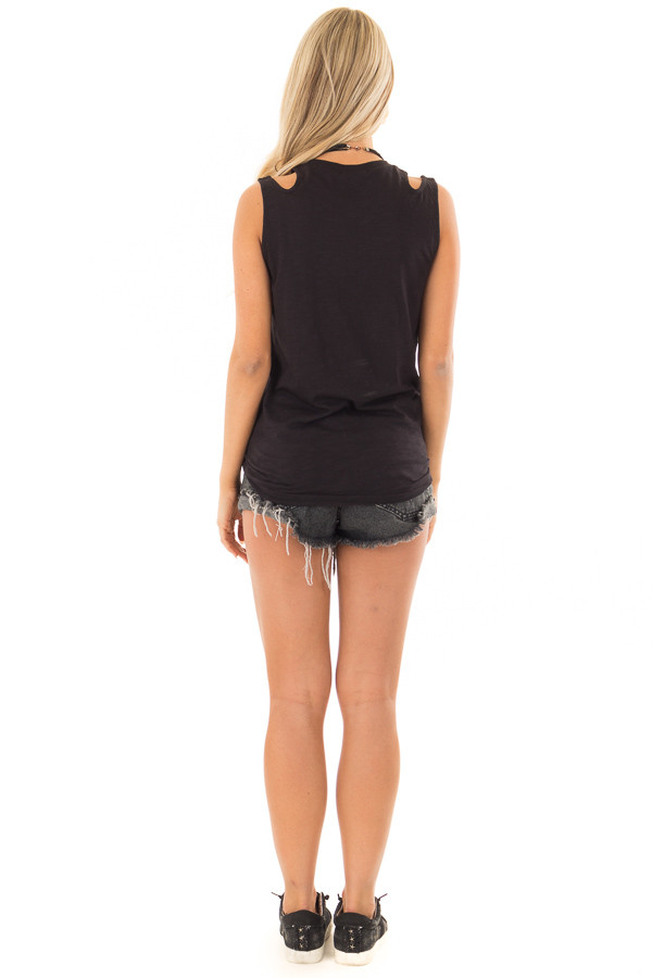 Black Tank Top With Double Straps and Tie Front back full body