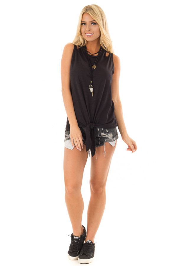 Black Tank Top With Double Straps and Tie Front front full body