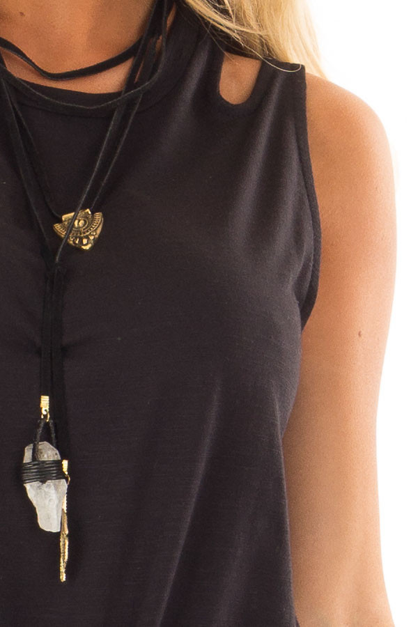 Black Tank Top With Double Straps and Tie Front detail