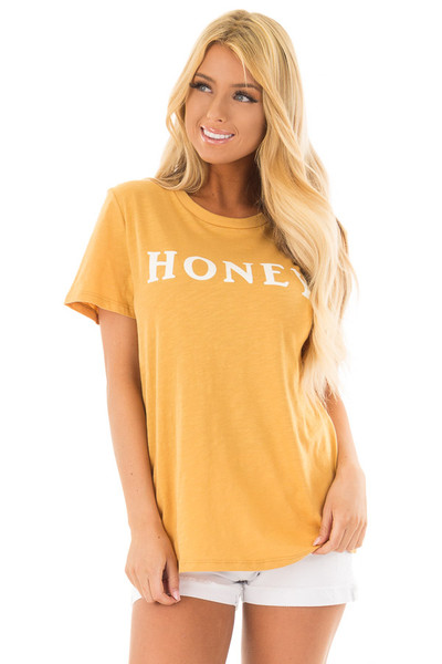 Goldenrod 'Honey' Short Sleeve Top with Bear Graphic front close up