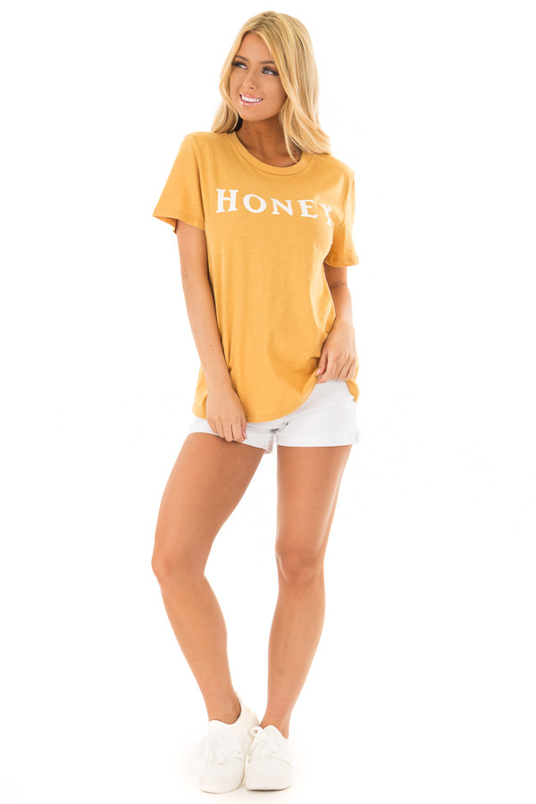 Goldenrod 'Honey' Short Sleeve Top with Bear Graphic front full body