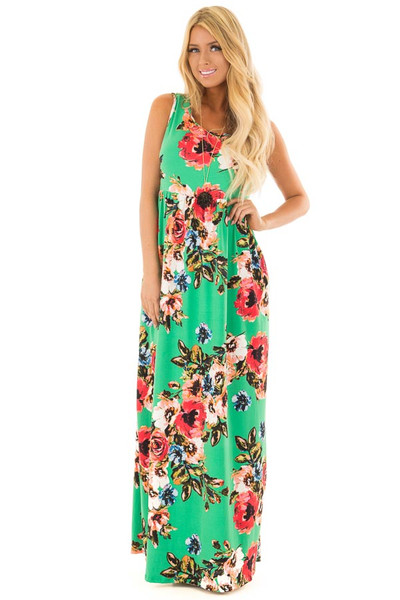 Kelly Green Floral Print Maxi Dress with Pockets front full body