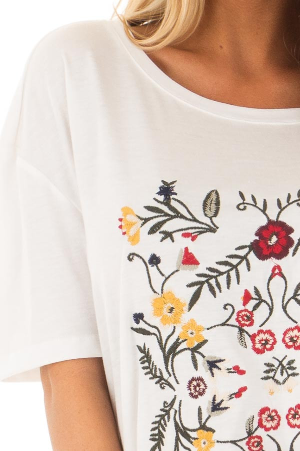 White Soft Short Sleeve Top with Floral Embroidery detail