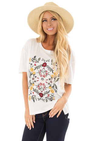 White Soft Short Sleeve Top with Floral Embroidery back close up