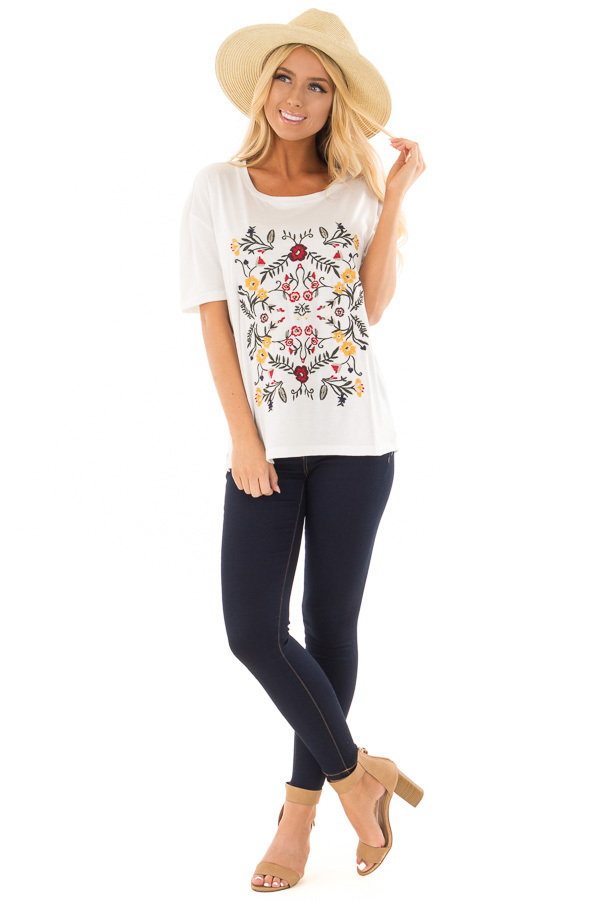 White Soft Short Sleeve Top with Floral Embroidery back full body