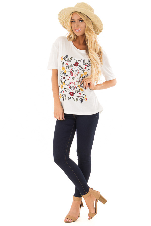 White Soft Short Sleeve Top with Floral Embroidery front full body